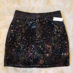 Topshop Iridescent Sequin Mini Denim Skirt